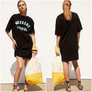 Zara T-shirt dress front slogan, weekend loading